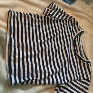 Striped black and white cropped tee.